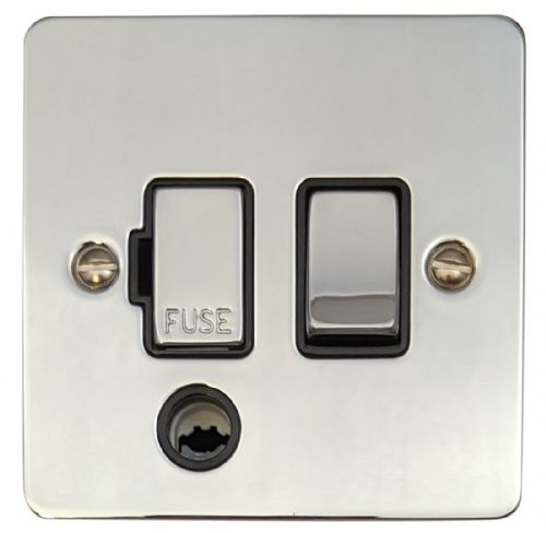 G&H FC356 Flat Plate Polished Chrome 1 Gang Fused Spur 13A Switched & Flex Outlet